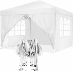 10'x10' White Carport Garage Car Shelter Canopy Party Tent Sidewall With Window.