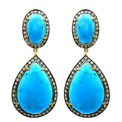 925 Silver Rose Cut Diamond And Turquoise Victorian Antique Style Women Earrings
