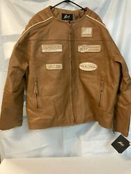 Max Usa Jacket Tan Leather Motocross Embroidered Patches Pockets Mens Size 5x