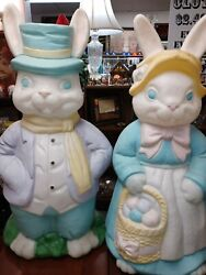 Empire 34 Large Mr And Mrs Easter Bunny Blow Mold Set Light Up