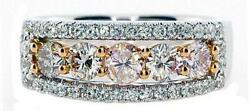 Wide 1.24ct White And Pink Diamond 18k White Rose Gold Five Stone Anniversary Ring