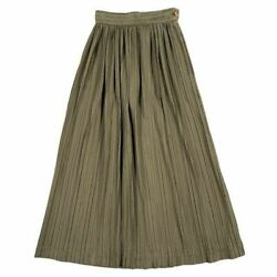 Issey Miyake Early 1980s Rare Initial Pleated Long Skirt Kahki 7a334