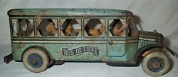 Antique Usa Strauss Mechanical Tin Toy Bus Wind Up Metal Auto Car Oil Gas Sign