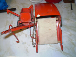 Vintage Red Tru Scale Pull Type Combine Harvester Metal Farm Toy - Incomplete