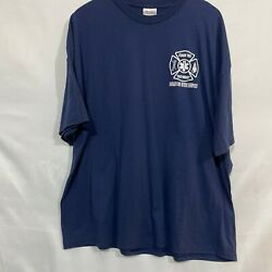 Class 702 Fully Involved Dekalb Fire Rescue Service Hanes Mens Blue Tee Size 2xl