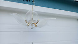 Vintage Italian Franco Luce Murano Hand Blown Glass Lilies Brass Arms Chandelier
