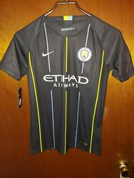 New Nike Manchester City 2018 Away Soccer Jersey Black Kids Youth Large