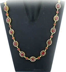 925 Sterling Silver Rose Cut Diamond Necklace Ruby Antique Style Women Jewelry