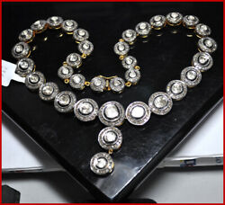 925 Sterling Silver Diamond Polki Necklace Set Antique Victorian Style Jewelry
