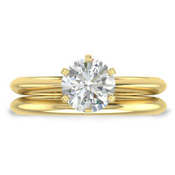 1ct G-si2 Diamond Knife-edge Engagement Ring 14k Yellow Gold Any Size