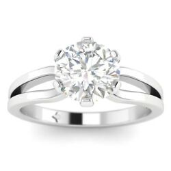 1ct E-si1 Diamond 6-prong Engagement Ring 18k White Gold Any Size