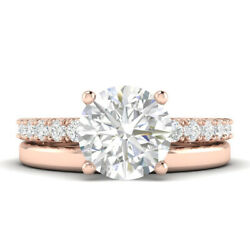 1.28ct H-vs1 Diamond With Accspts Engagement Ring 18k Rose Gold Any Size