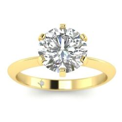 1ct D-vs1 Diamond Solitaire Engagement Ring 18k Yellow Gold Any Size