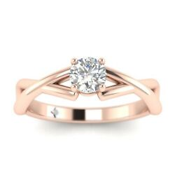1ct D-vs1 Diamond Round Engagement Ring 18k Rose Gold Any Size
