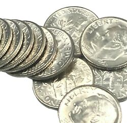 1962 D Silver Roosevelt Dimes Roll Of 50 Coins 90 Silver Us Coins Bu