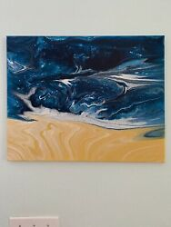 One Of A Kind Abstract Paint Pour Ocean Theme Wall Art Handmade Home Decor 16x20