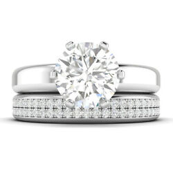 1.6ct D-vs1 Diamond Wide Engagement Ring 14k White Gold Any Size