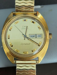 Very Fine Vintage Timex Electric Dynabeat Day/date Wrist Watch Very Clean Watch