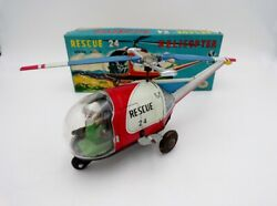 Vintage Modern Toys Japan Tin Litho Wind Up Rescue Helicopter In Box Nomura