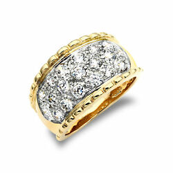 Jewelco London 9ct 2-colour Gold Cz Rope Edge 3 Row Bombay Ring