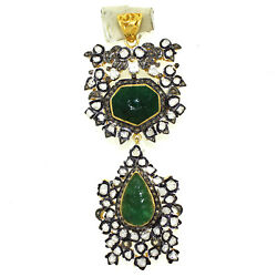 20.80cts Rose Antique Victorian Cut Diamond Real Carved Emerald 925 Silver Pend