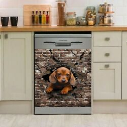 Dachshund Dog Dishwasher Cover Stickers, Kitchen Cover Decal, Vinyl 3d Print
