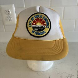 Vintage Yellow And White City Of Rock Springs Wyoming Trucker Mesh Snapback