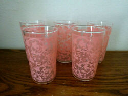 5 Vintage 1950and039s Drinking Glasses Pink Lace Pattern Libby