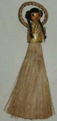 Vintage Antique Wood Handle Lady With Pigtails Whisk Broom