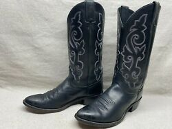 Justin 1409 Menand039s 9 D Black Leather Round Toe Western Cowboy Riding Rodeo Boots