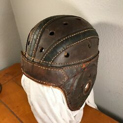 Antique Vintage 1920s-30s Rawlings Leather Football Helmet. Nice Collectible