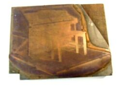 Old Wood And Metal Print Block Showing An Etched Image Of An Upright Piano