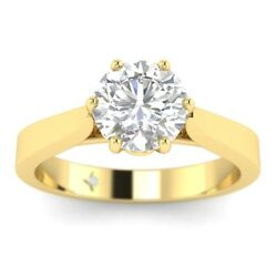 1ct F-si1 Diamond Cathedral Engagement Ring 18k Yellow Gold Any Size