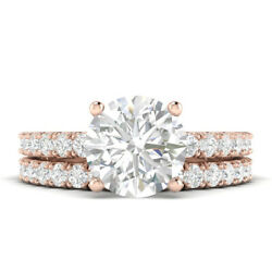 1.6ct H-si1 Diamond With Accsdts Engagement Ring 18k Rose Gold Any Size