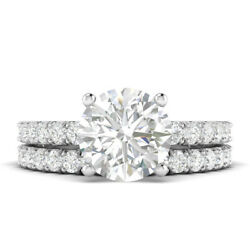 1.6ct H-si1 Diamond With Accsdts Engagement Ring 14k White Gold Any Size