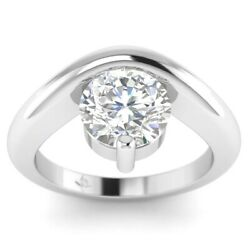 1ct F-vs1 Diamond Unique Engagement Ring 14k White Gold Any Size
