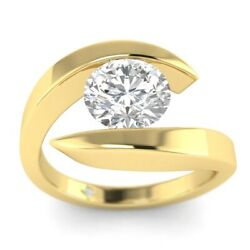 1ct F-vs1 Diamond Tension Engagement Ring 14k Yellow Gold Any Size