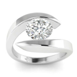 1ct F-vs1 Diamond Tension Engagement Ring 14k White Gold Any Size