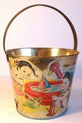 Vintage Japanese Tin Pail Or Bucket-silver Surface, Kids Playing With Water Toys