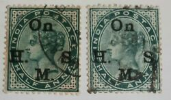 1899 India Stamp. Sg038a. Double Overprint. V