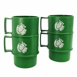 Tupperware Coffee Cup Mug Set Of 4 Christmas White Dove Holiday Stackable Vtg