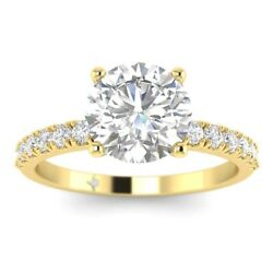 1.28ct H-si2 Diamond With Accents Engagement Ring 18k Yellow Gold Any Size