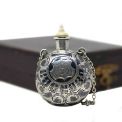 Antique Russian Niello Perfume Bottle Silver And Enamel With Original Box