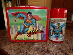 Vintage 1978 Superman Metal Lunch Box W/thermos