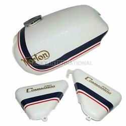 Petrol Fuel Tank With Side Panel Norton Commando Roadster White Blue Red Stripe
