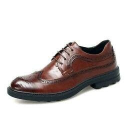 Retro Brogue Men Dress Formal Business Leather Shoes Wingtip Carved Lace Up Size