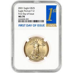 2021 American Gold Eagle Type 2 1/2 Oz 25 - Ngc Ms70 First Day Issue 1st Label