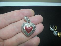 Thailand Puff Judith Ripka 925 Sterling Silver Red Heart Charm Pendant Locket Hh
