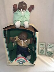Cabbage Patch Kid, 2 African American Baby Dolls,1984, Box And Birth Certificate