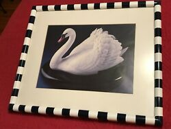 Swan Painting Matted Under Glass Hand Painted Frame Mackenzie Childs Style Frame